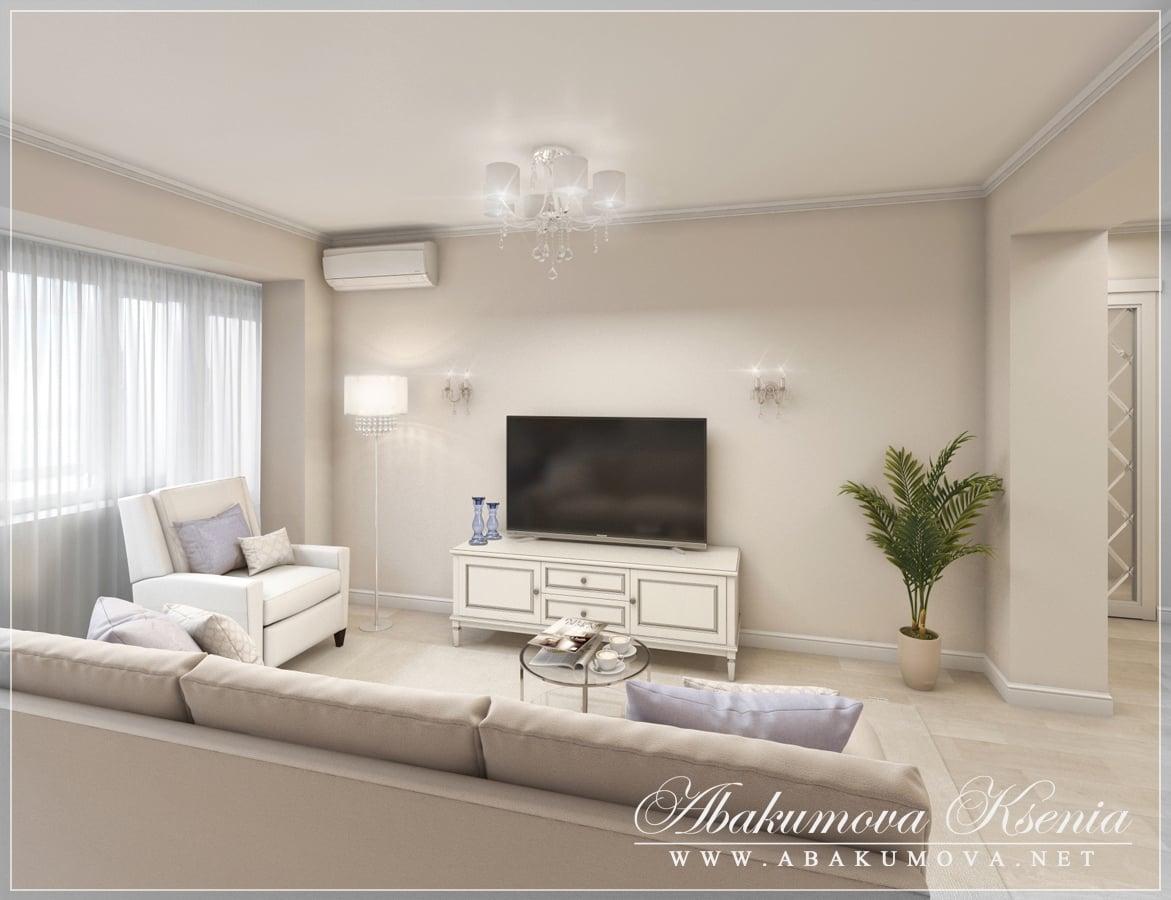 Дизайн интерьера - гостиная - студия Абакумовой Ксении