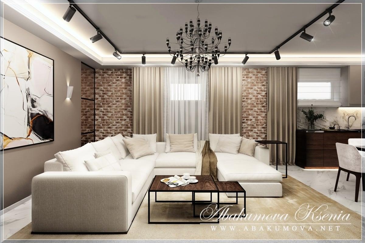Дизайн интерьера - гостиная-кухня - студия Абакумовой Ксении