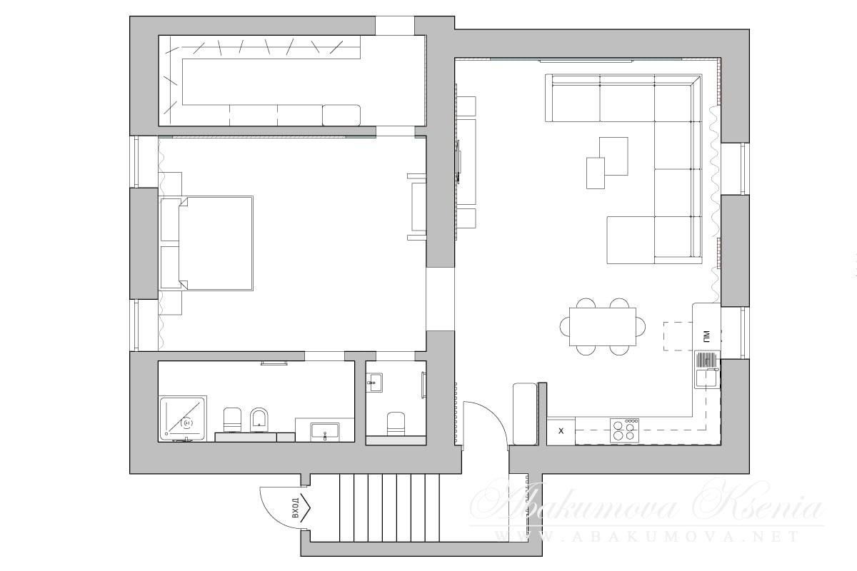 Дизайн интерьера - план помещения- студия Абакумовой Ксении